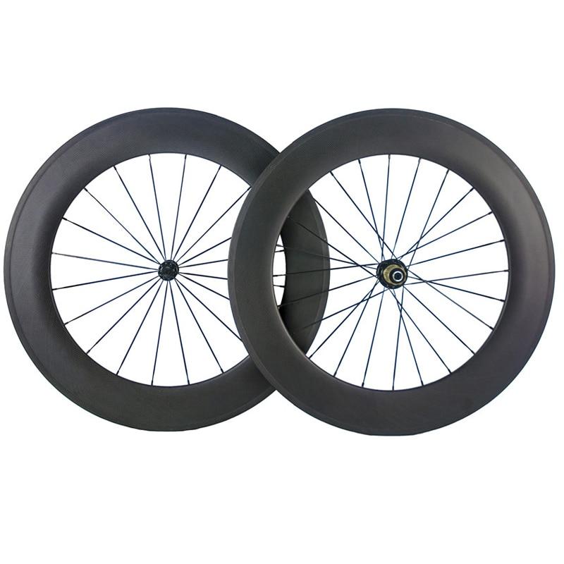Ruedas de carbono Clincher 88mm personalizadas 700c ruedas de bicicleta de carbono completo 25mm con forma de U ruedas de bicicleta de carretera Tubular