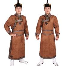 Maschio vestita mongolia vestiti costume maschile imitazione pelle di daino velluto Mongolia vestiti mongolo vestito di Vestito