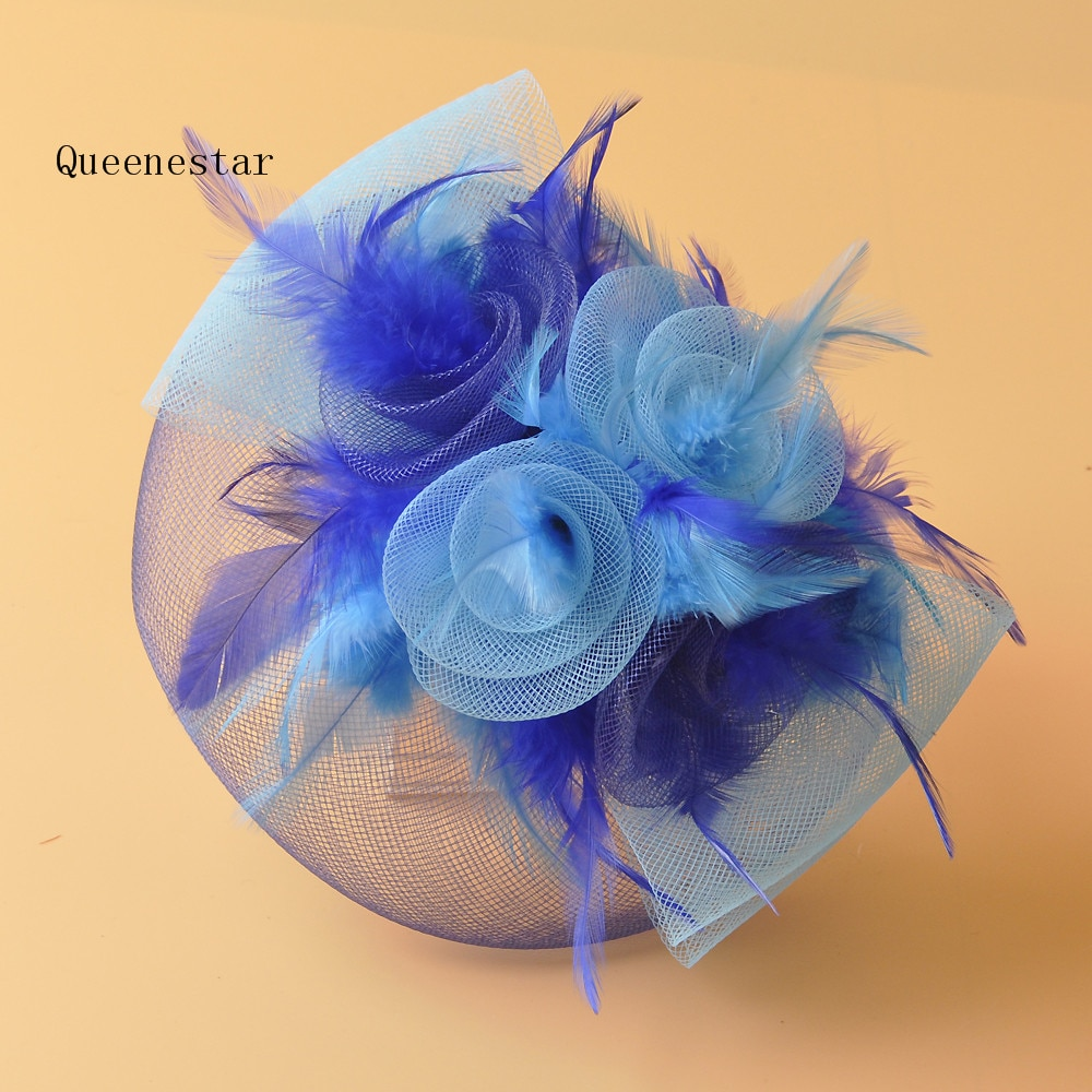 Moda mujer gorro de gasa nupcial plumas Facinator sombrero tocado floral elegante señoras Derby fiesta Cocktail Mesh Hair Clips