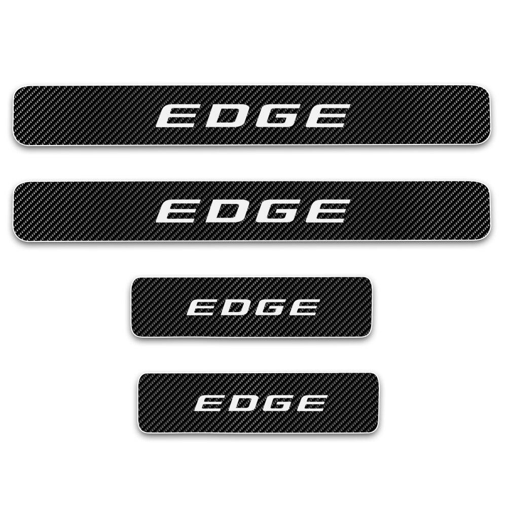 Para Ford EDGE Umbral de puerta del coche Placa de alféizar de puerta pegatinas de decoración de Pedal de bienvenida de coche 4D fibra de carbono vinilo 4 Uds
