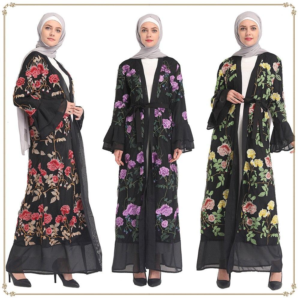 2019 moda mujer bordado flor Abaya vestido Cardigan Robe Kimono mujeres Thobe Jubah Ramadán árabe Turquía ropa islámica
