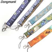 P1906 Dongmanli 1pcs Van Gogh painting art Lanyard Neck Key Strap for Phone Keys ID Card Cartoon Lanyards