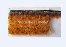 Plumes à larrière jaune 10Yards/Lot   4 à 6cm de long, rubans en plumes de phénix dorés, garniture frange, vente en gros KX32