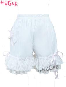 White sweet Loilita Bloomers Knickers lace Trim Shorts Heart Shape Pocket Bow Ribbon Cotton elastic japanese