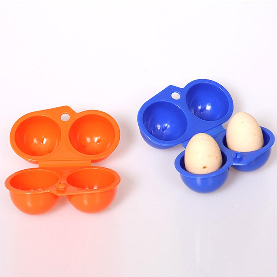 Nueva caja de almacenamiento de huevos conveniente para cocina y contenedor de senderismo al aire libre, portador de Camping para 2 huevos, caja de conservación de alimentos