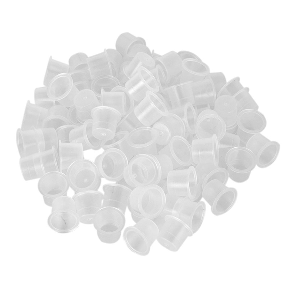 500Pcs Plastic Microblading  Cap Pigment Clear Holder Container S/M/L Size For Needle Tip Grip Power Supply