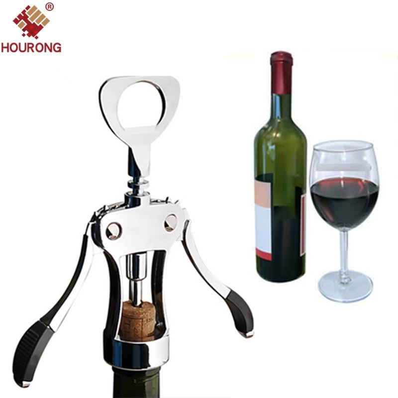 HOURONG 1 Pz Professionale In Acciaio Inox Bottiglia di Vino Opener Pressione Maniglia Cavatappi Vino Rosso Opener Cucina Accessorio Attrezzo della Barra