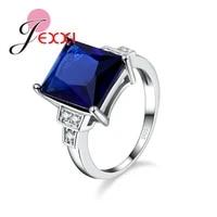 big discount brand design bijoux dark blue big cubic zirconia women ring 925 sterling silver wedding engagement jewelry