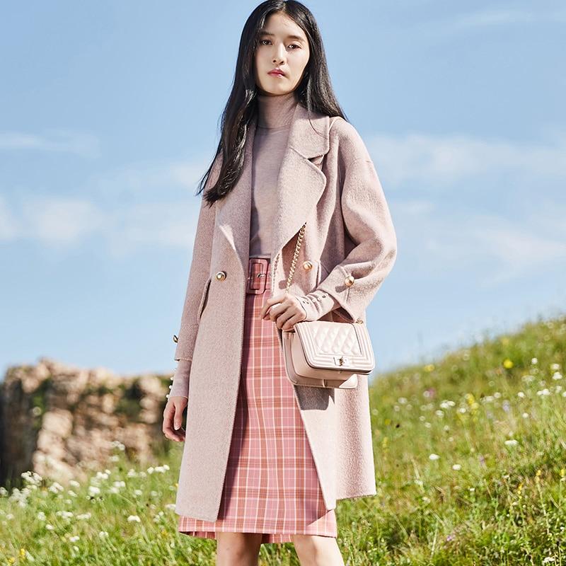 Abrigo de lana 2019 para Mujer, moda de lana de Alpaca, Chaqueta...