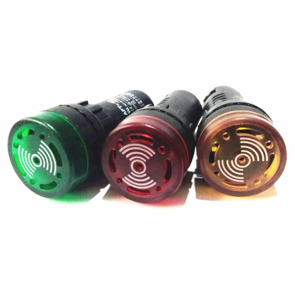ad16 16m buzzer type indicator light signal lamp 10 Piece AD16-22SM Panel Mount LED Flash Buzzer Indicator Light 22mm Hole 12V 24V 220V 110V Indicating Alarm Signal Lamp