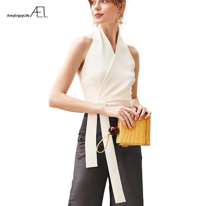 Ael sexy halter topo mulheres bustier colheita elegante senhora gravata cintura superior colete branco/preto 2019 verão magro blusa mulher