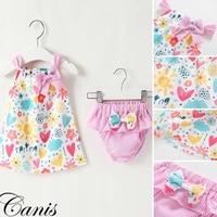 newborn baby girl clothes sleeveless print cotton summer top dress short striped pants 2pcs outfits clothes set