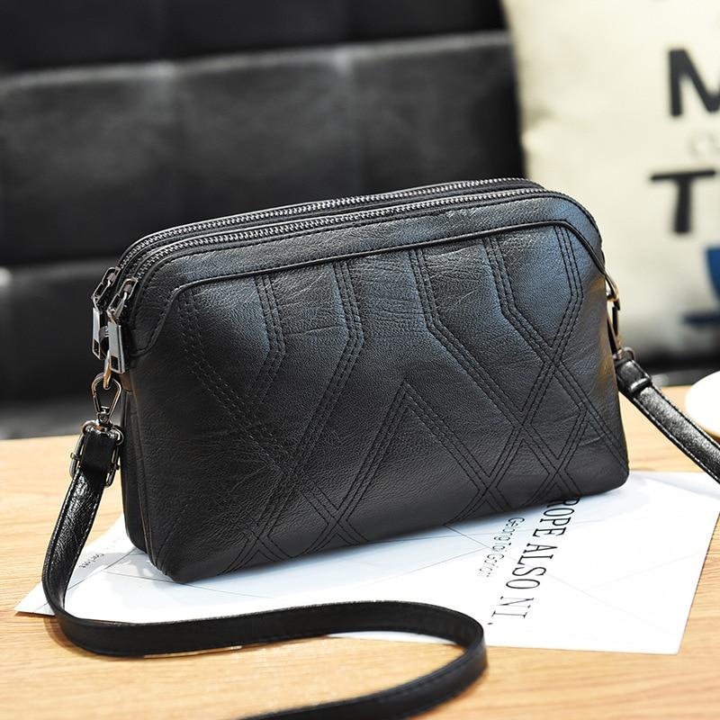 BARHEE Brand Casual Women Handbags Vintage Soft PU Leather Shoulder Bags Fashion Shopping Travel Black Bag Double Zipper