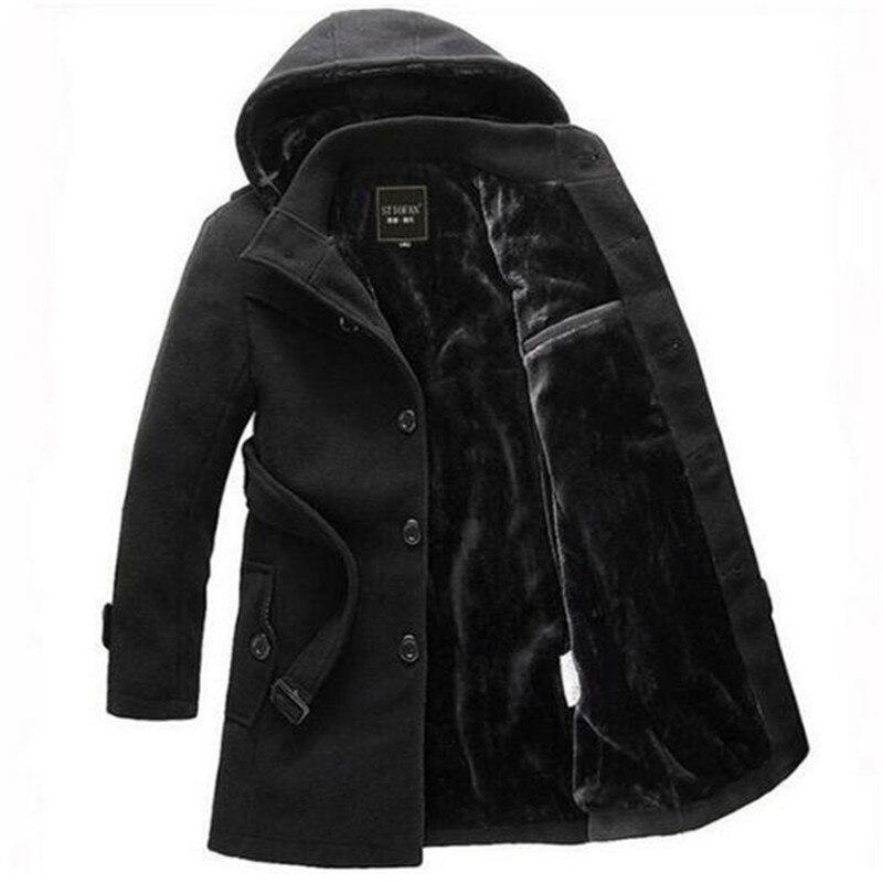 2020 الرجال سميكة الدافئة الشتاء خندق معطف مقطع طويل جاكيت من الصوف معطف XXXL بدوره أسفل طوق واحدة الصدر الصلبة معطف
