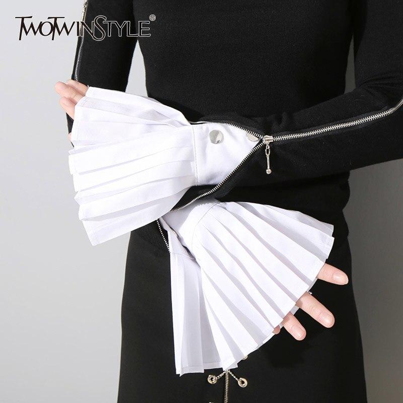 TWOTWINSTYLE Fashion plisowane rękawiczki damskie rozkloszowane mankiety wszystkie mecze podstawowe akcesoria odzieżowe 2020 nowość