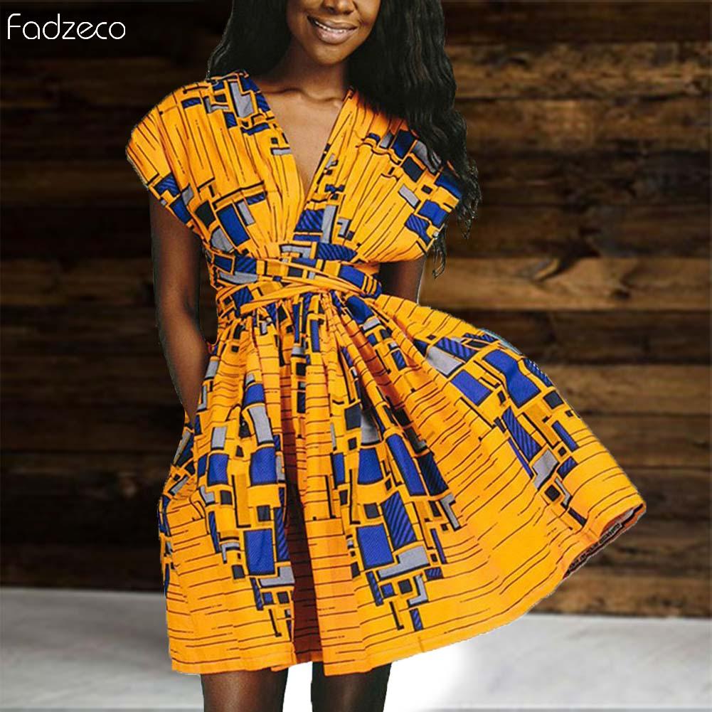 Fadzeco Ankara femmes africaines robe 2019 nouveau Dashiki africain imprimé robe courte croisé robes robes de soirée de mariage