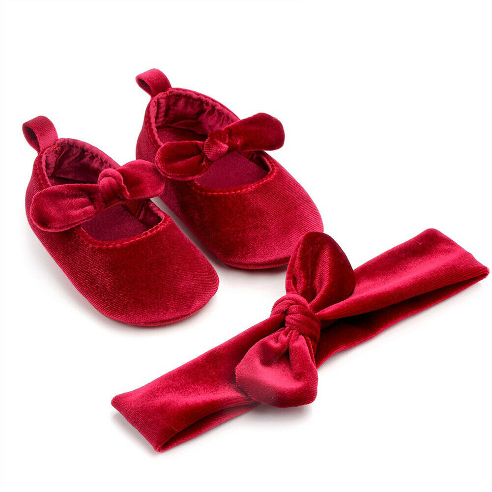 Bebé recién nacido niña suave terciopelo dorado linda princesa suave suela zapatos con diadema bebé Bowknot primera caminata antideslizante 0-18M