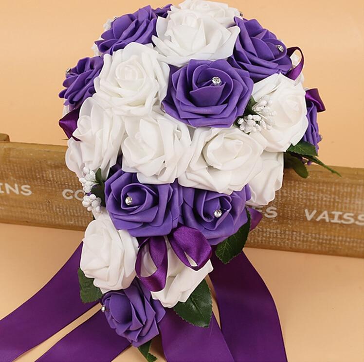 Ramos de flores artificiales de espuma de PE para novia, ramos de cristal para dama de honor para boda, agua en forma de gota, azul turquesa, 2018