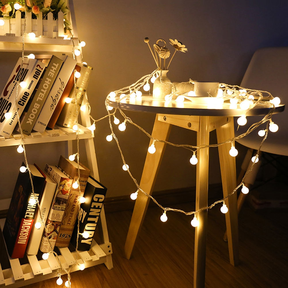 1,5 м 3 м 6 м 10 м сказочная гирлянда светодиодные Шаровые струнные огни водонепроницаемые для рождественской елки Свадебные домашние украшения на батарейках