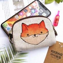 M320 Cartoon Coin Purse For Women Cute Fox Elephant Bear Printing Linen Cloth Zero Purse Women Girl Bag Wholesale