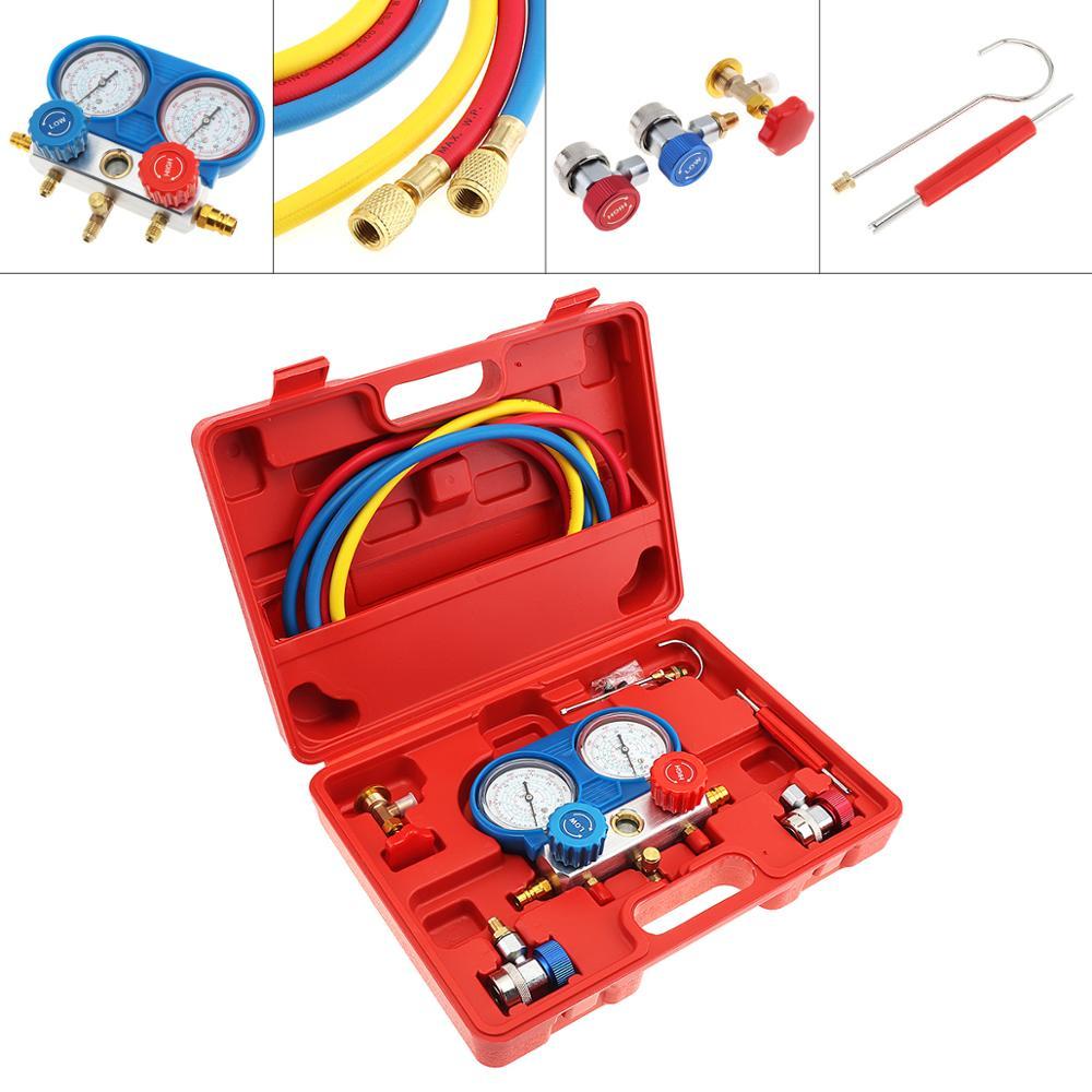 Mesa de flúor de aire acondicionado medidor de Gas fresco común AC diagnóstico A/C conjunto de herramientas con herramienta de extracción y 2 acopladores rápidos