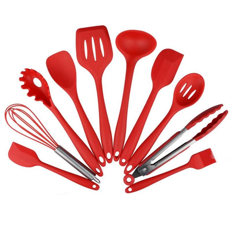 Utensilios de cocina de silicona, juego de utensilios de cocina de 10 piezas, espátula, cuchara, cucharón, servidor de espagueti, espátula ranurada. Herramientas de la cocina