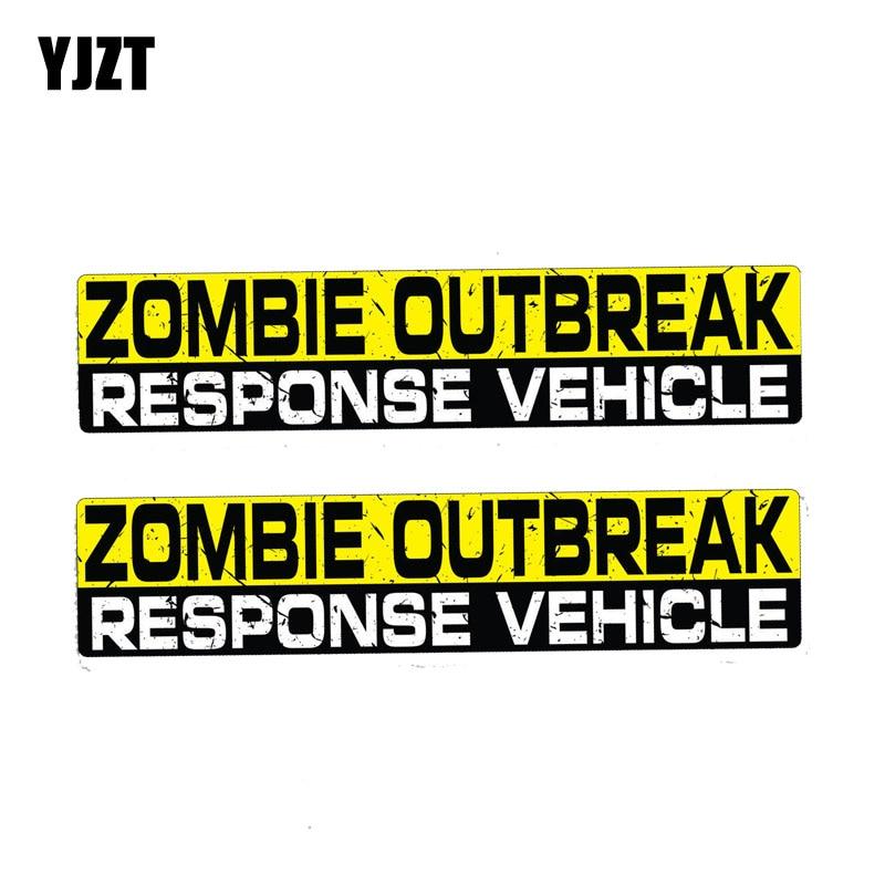 YJZT 2X 15CM*3CM Warning ZOMBIE OUTBREAK RESPONSE VEHICLE Car Sticker PVC Decal 12-1183