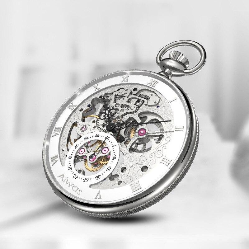 Retro oco relógio de bolso mecânico moda masculina gráficos de parede escala romana dial personalizado presentes relógio personalizado relogio masculino