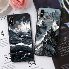 3D Emboss Mountain Phone Case For Xiaomi Redmi Note 9 Pro Max 8 7 6 5 K20 K30 Pro 8T 7S Mi 9 SE A3 Lite A2 A1 Cover Soft Silicon