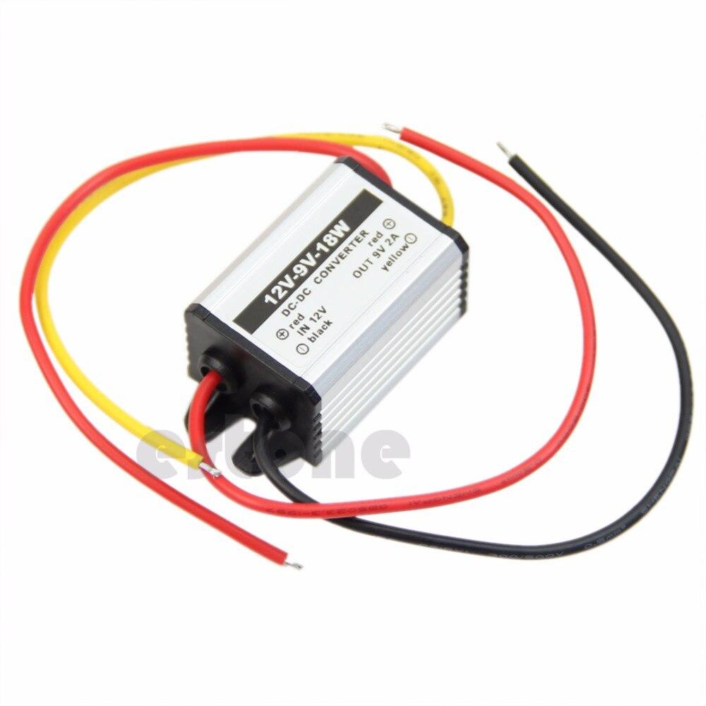 OOTDTY impermeable DC a DC buck convertidor 12V a 9V 18W módulo de fuente de alimentación