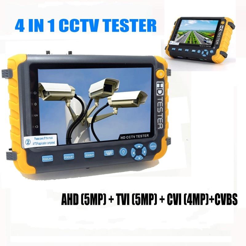 Professional CCTV Tester IV8W 5 Inch TFT LCD 5MP AHD TVI 4MP CVI Analog CVBS Security Camera Tester VGA HDMI Input PTZ UTP