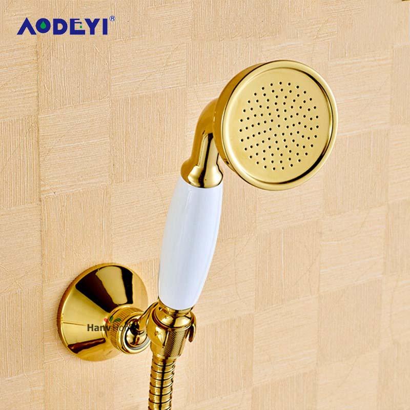 AODEYI-رأس دش نحاسي ذهبي ، طقم دش موفر للمياه ، خرطوم 1.5 متر