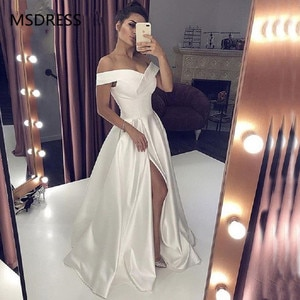 Sexy V Neck Long White Prom Dresses With High Split Elegant A-line Off the Shoulder Special Occasion Formal Evening Gowns 2019