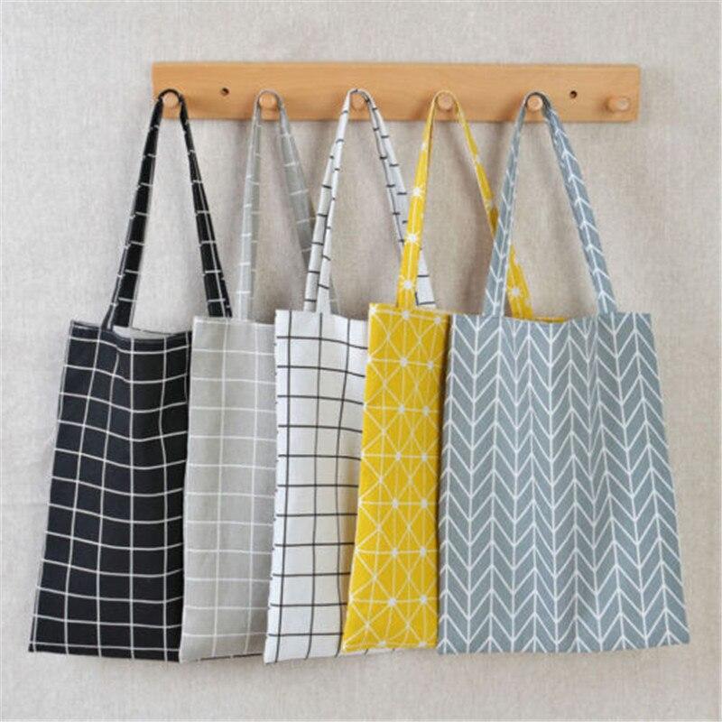 2018 Modern New Casual Mini Shopping Cotton Linen Tote Handbag Canvas Purse Pouch Stylish Shoulder Bag