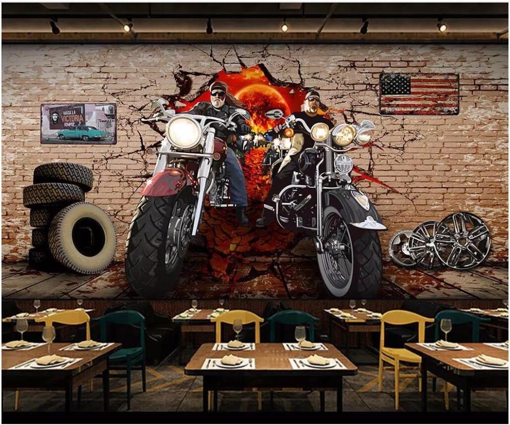 Papel pintado 3d con foto personalizada Retro motocicleta nostálgico pared de ladrillo sala de estar decoración del hogar pared 3d murales papel tapiz para paredes 3 d