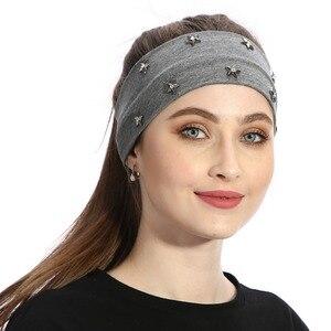 Women Fashion Headband Star Rhinestones Hair Accessories Handmade Headbands For Girls Female Turban Wraps Solid Cotton Hairband