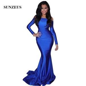 Off Shoulder Long Sleeves Royal Blue Evening Dresses Simple Elegant Long Formal Jersey Dress Women Party Gowns