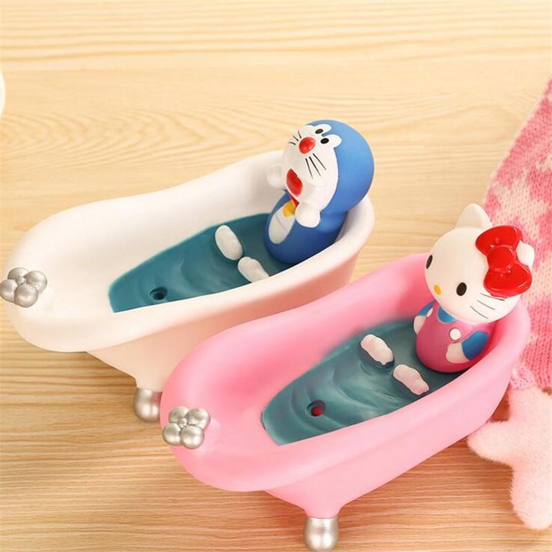 CTREE New Soap Dish Box Home Bathroom Accessories  Creative Cute Cartoon Pink Cat Set Holder Wash Drain Shower Case Gift box C52 enlarge