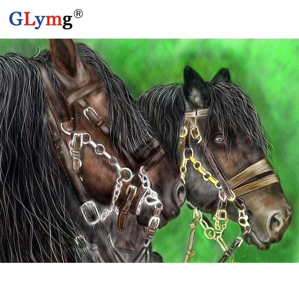 5d Diy diamante pintura punto de cruz taladro cuadrado completo diamante bordado negro caballo Animal foto hogar pared Decoración