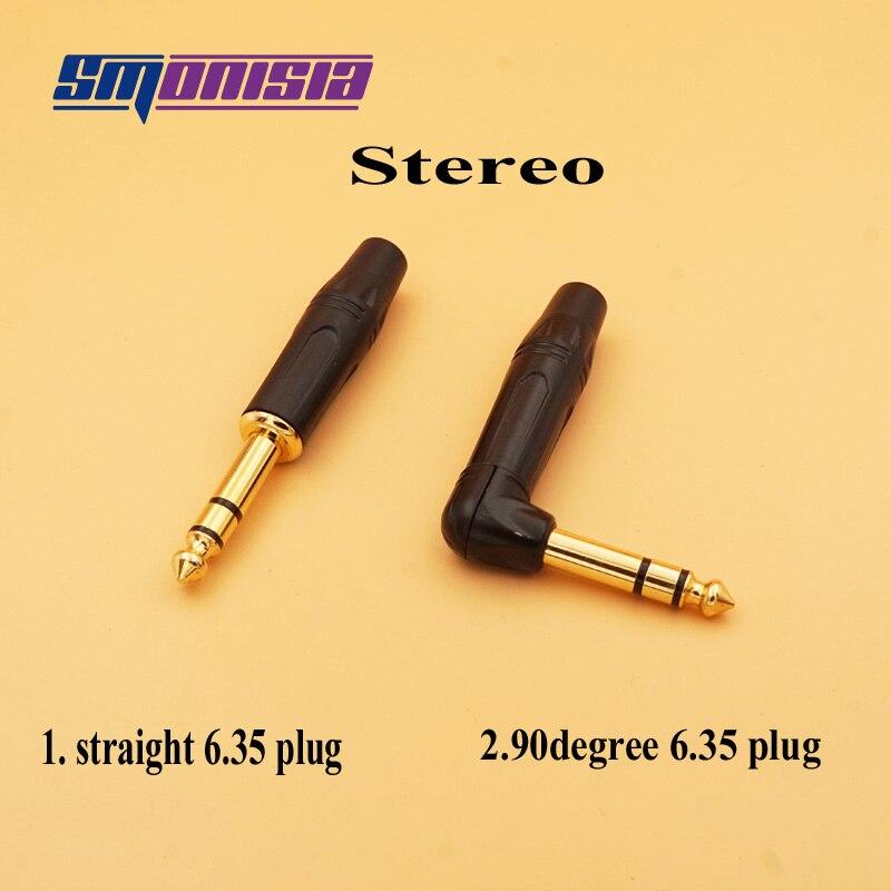 Smonisia 10 قطعة/الوحدة 6.35 مللي متر ميكروفون التوصيل الزاوية اليمنى/Stright 6.35 مللي متر ستيريو ذكر الجمعية موصل بسلاسة 6.35 الصوت التوصيل