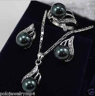 Alta qualidade para as mulheres novo-jóias 12mm preto pérola arco pingente colar brinco ringset aaa estilo natural gem nobre fin