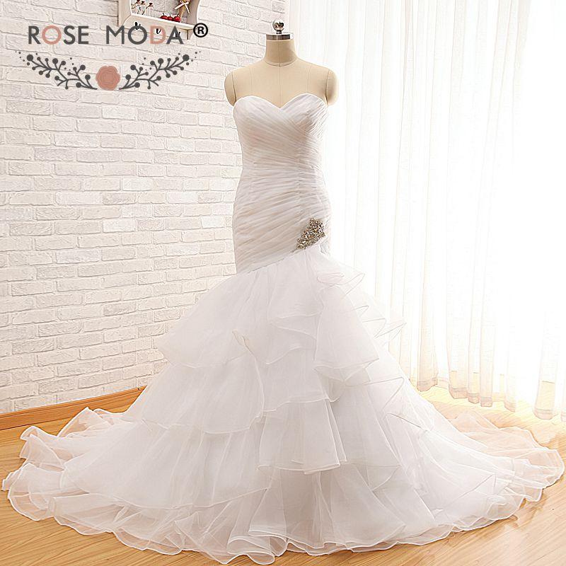 Rose Moda Organza Mermaid Wedding Dress 2019 Crystal Destination Wedding Dresses Lace Up Back Real Photos