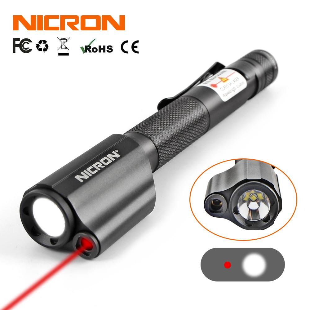 Mini linterna Estilo bolígrafo NICRON con láser rojo para uso de guía impermeable IP65 2xAAA batería 120LM Mini linterna iluminación B24