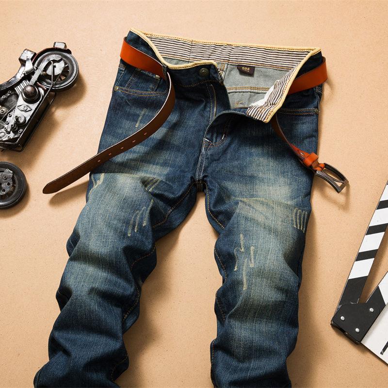 Зауженные мужские джинсы, винтажные рваные джинсы Stonewash, мужские брендовые качественные Стрейчевые джинсовые брюки, уличная одежда черного...