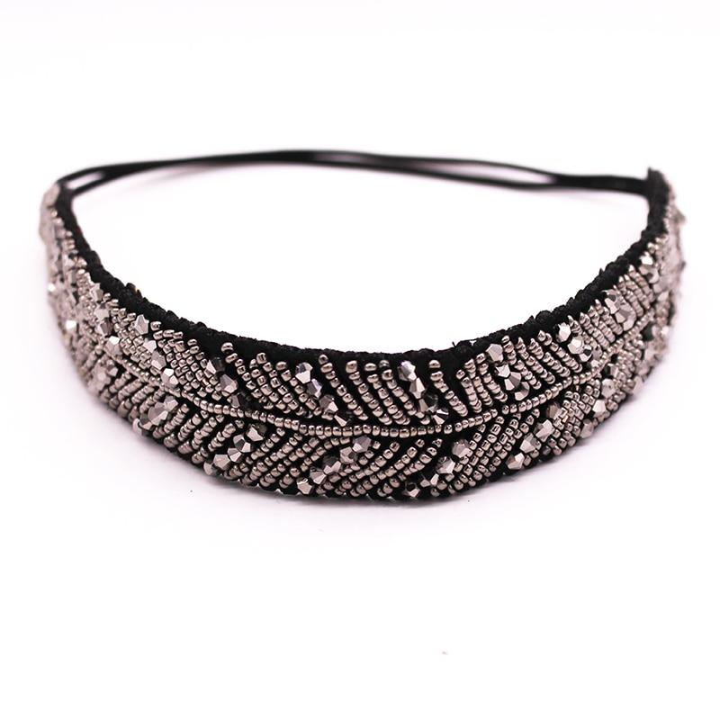 Metting Joura Vintage Bohemian Full Metal Beads Handmade Headband  Leaf Rhinestone Elastic Hair Band Hair Accessory