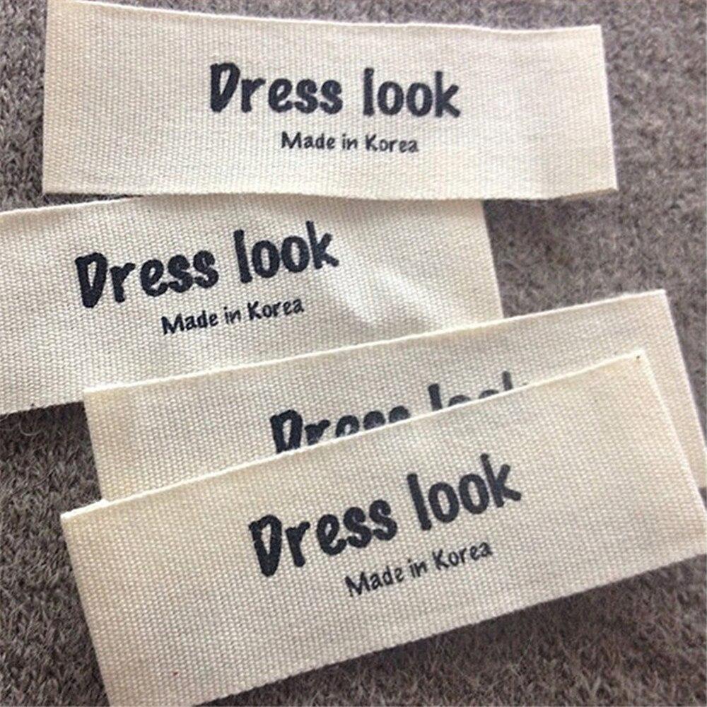 1000 pz Personalizzato End Fold Etichette di Abbigliamento In Cotone Beige tessuto Personalizza il Logo Nome Stampato Etichette in Cotone Taglio Separato