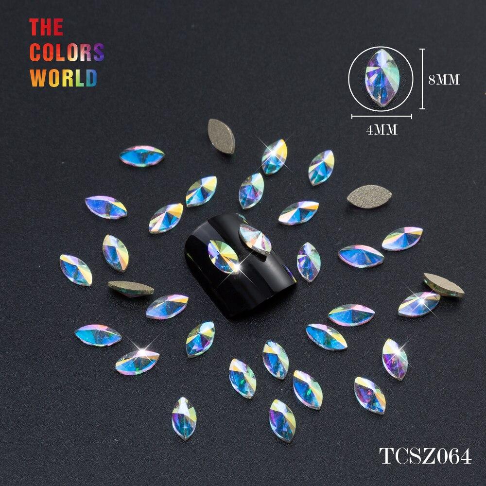 Купить с кэшбэком TCST-002 Rhinestone AB Crystal Diamond Gems Flatback 3D Tips Nail Accessoires Jewelry Stones Manicure Nail Art Decoration DIY