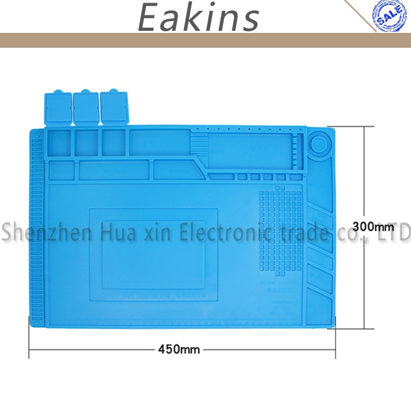 Thermische isolierung Isolierung Silikon Pad Schreibtisch Matte 45*30cm Große größe mit Magnetische Abschnitt für Löten Schweißen reparatur