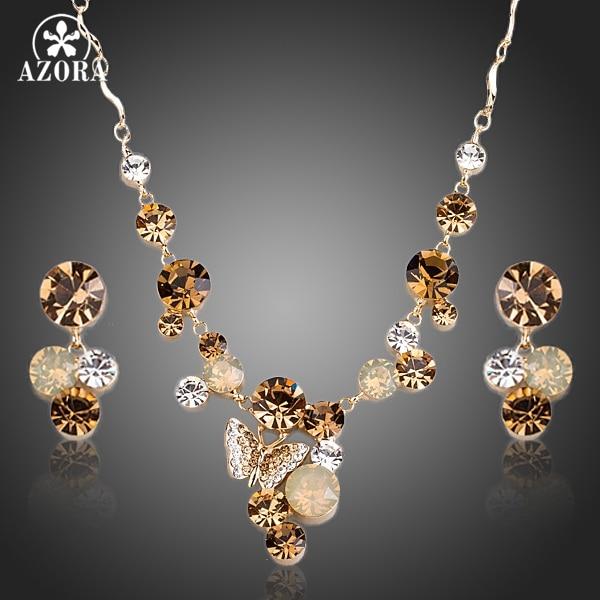 AZORA Color dorado mariposa Stellux collar con colgante de cristal austriaco y pendientes de gota conjuntos de joyería TG0155