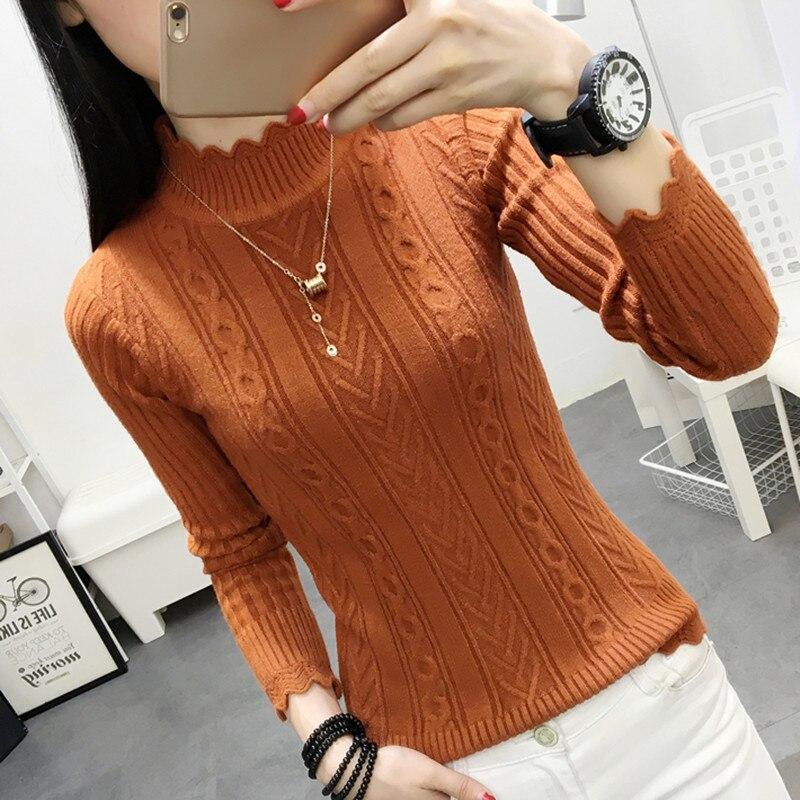 2019 suéter coreano de invierno mujer medio cuello de tortuga manga cabeza bottoming camisa corto ajustado sweaters-d26-12620